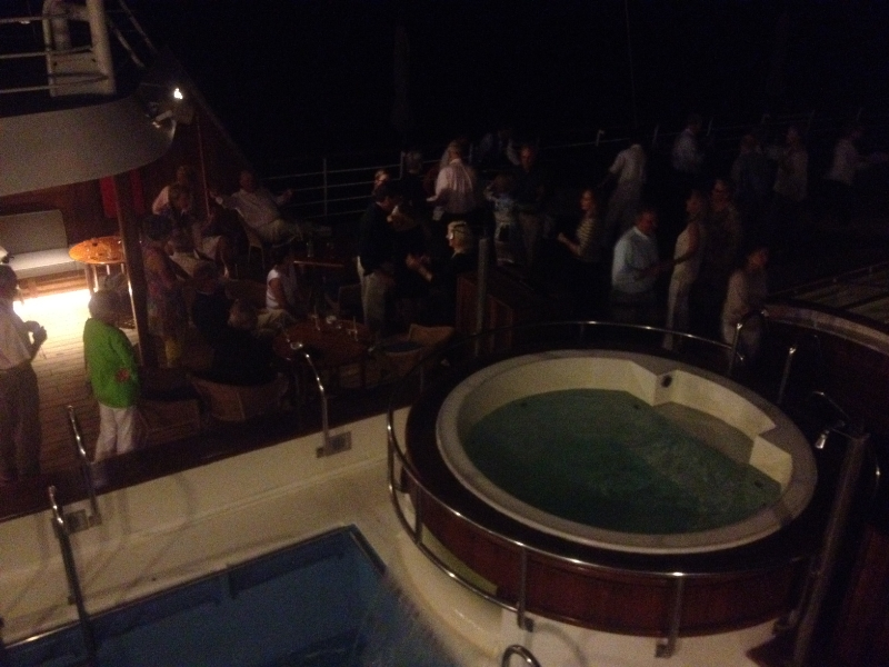 Sail away party after a fabulous day of great experiences aboard the upper deck of Windstar