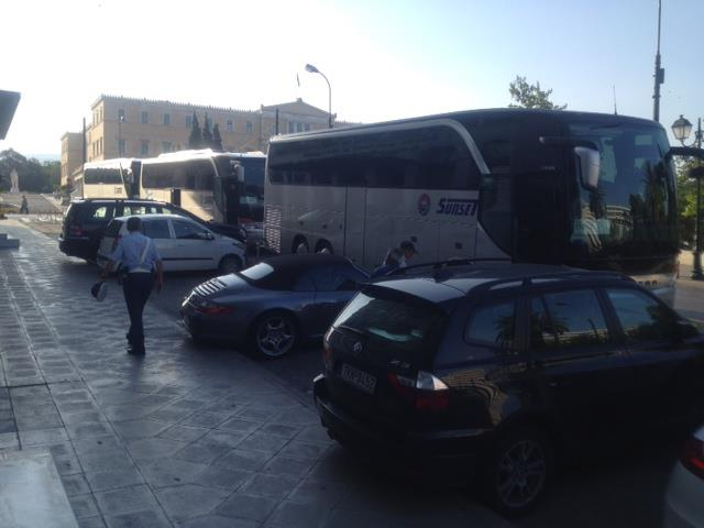Guests of FPC of Houston are checking out of Grand Bretagne Hotel for their excursion to Corinth