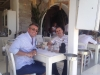 Ferit from Vanguard Travel Services and Carsten from TCS Expeditions having relaxed time at Myconos Beach Club Namus